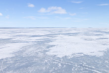 Frozen Northern Lake On A Clear Winter Day