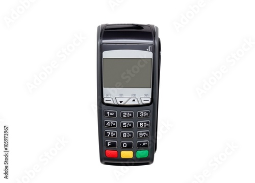 Payment terminal isolated on white. Front panel texture for obje