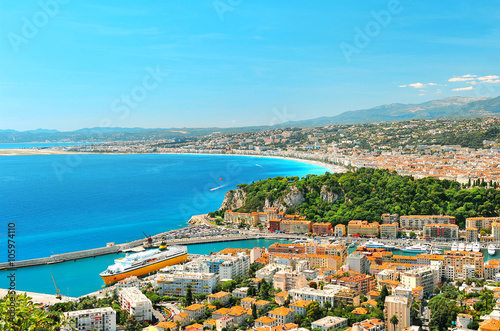 Deurstickers Nice Panoramic view of Nice, Mediterranean Sea, France