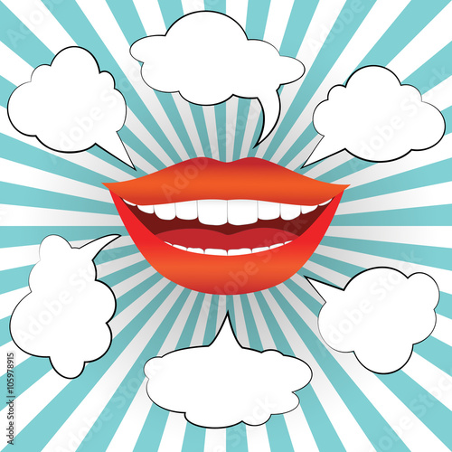 plakat Pop art style smiling woman mouth with different blank speech bubbles