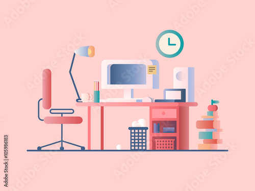 Fotografía  Workplace design flat