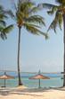 Seascape. The coast with beach umbrellas