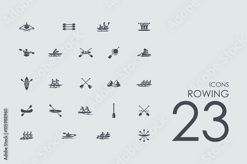Tablou Canvas Set of rowing icons