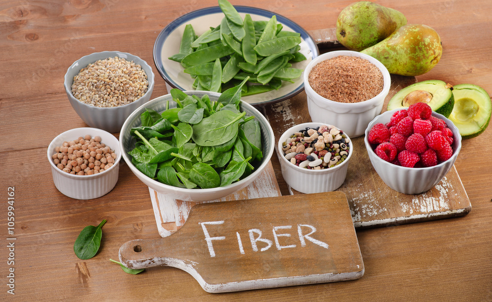 Fototapety, obrazy: Foods rich in Fiber on a wooden table.