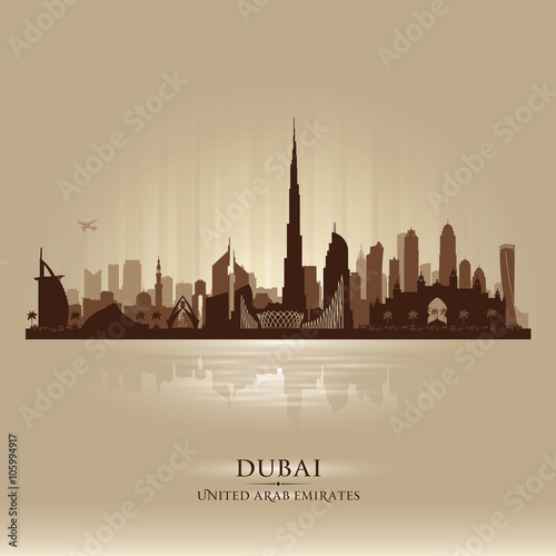 Dubai UAE city skyline vector silhouette Poster