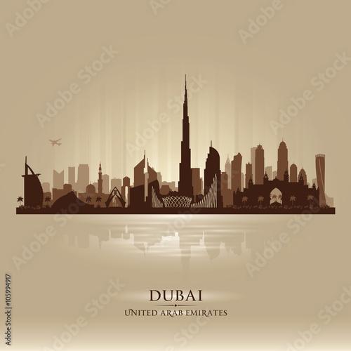 Photo  Dubai UAE city skyline vector silhouette