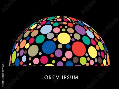 Canvas-taulu Abstract Building, dome, designed using colorful dots graphic vector