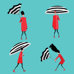 Fototapetaset vector illustration of girls with umbrella