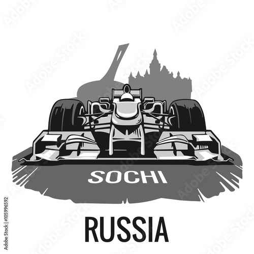 Fotografía  Vintage poster Grand Prix Russia