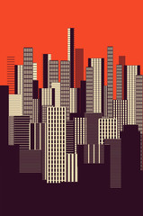 Fototapetaa three colors graphical abstract urban landscape poster in orange, and brown