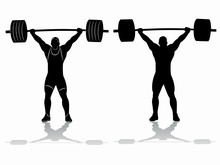 Silhouette Of Weightlifter , Vector Drawing