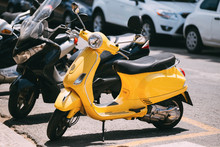 Yellow Motorbike, Motorcycle Scooter Parked In City