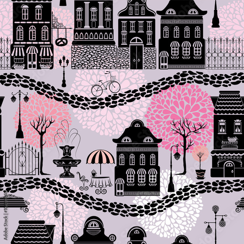 Cotton fabric Seamless pattern with fairy tale houses, lanterns silhouettes