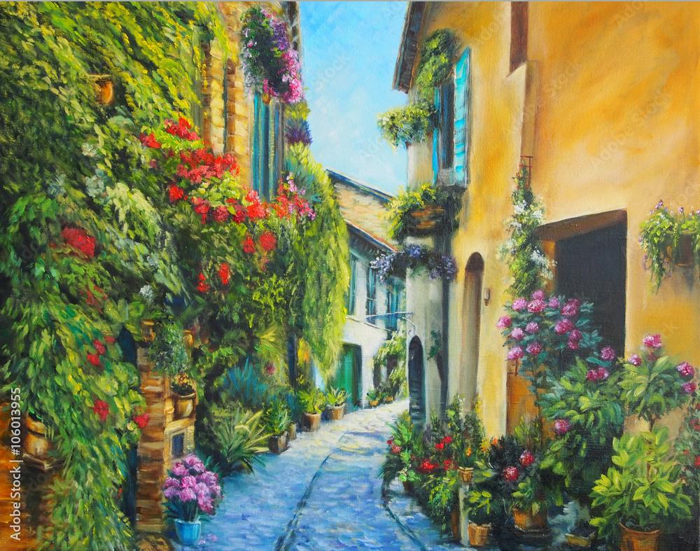 Fototapeta Oil Painting Picture Flower Street in Italy