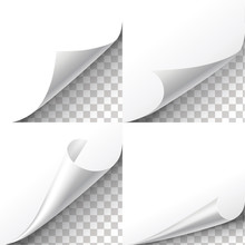 Curl Paper Corners Vector Set On Transparent Background. Sheet Sticker,  Flip Edges Illustration