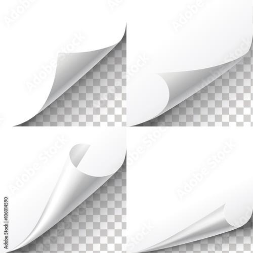 Fototapeta Curl paper corners vector set on transparent background. Sheet sticker,  flip edges illustration obraz