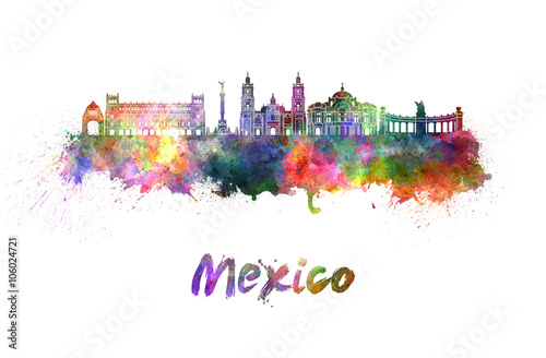 Mexico City skyline in watercolor
