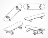 Skateboarding vector illustration. Hand sketched skateboards