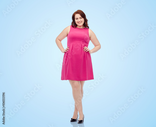 Happy Young Plus Size Woman Posing In Pink Dress Buy This Stock