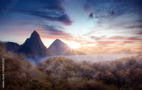 Poster Marron chocolat Panorama of Pitons at Saint Lucia, Caribbean