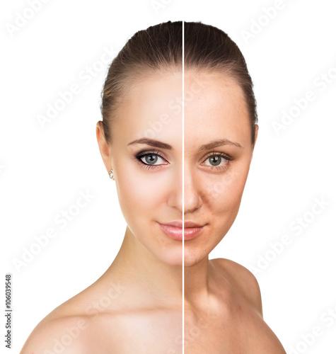 Fototapeta Comparative portrait of female face obraz na płótnie