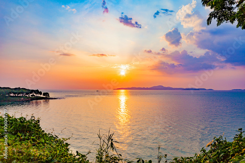 Fototapeta  beautiful colorful sky and sunset at the sea