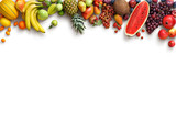 Fototapeta Fototapety do kuchni - Healthy fruits background. Studio photo of different fruits isolated white background. High resolution product. Copy space
