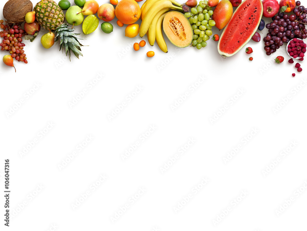 Fototapety, obrazy: Healthy fruits background. Studio photo of different fruits isolated white background. High resolution product. Copy space