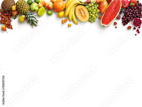 Healthy fruits background. Studio photo of different fruits isolated white background. High resolution product. Copy space