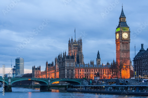 Poster London Palace of Westminster, Big Ben clock tower and Westminster Bridge in London