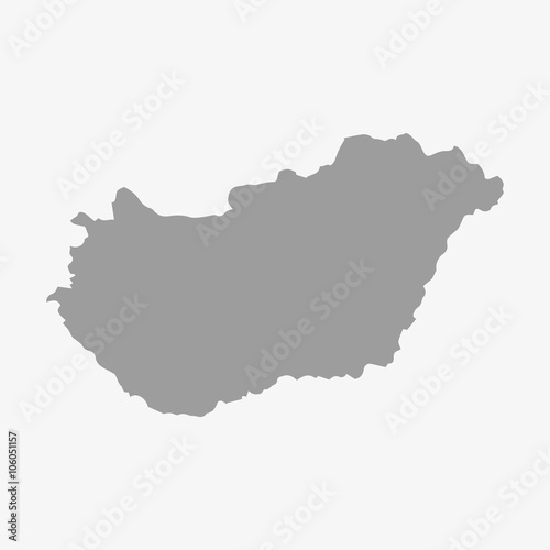Fotografia  Hungary map in gray on a white background
