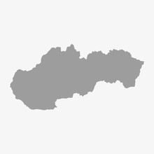 Slovakia Map In Gray On A Whit...