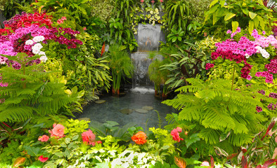 Fototapeta Wodospad Water Fall and Flower beds in the Spring with Lush colors, Victoria, Canada