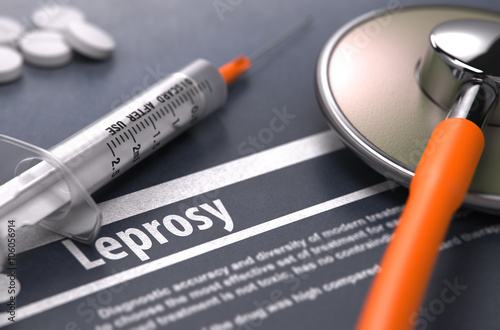Fototapeta Leprosy - Printed Diagnosis with Blurred Text on Grey Background and Medical Composition - Stethoscope, Pills and Syringe