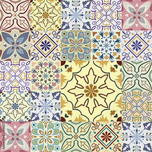 Deurstickers Marokkaanse Tegels Big set of vector tiles background.