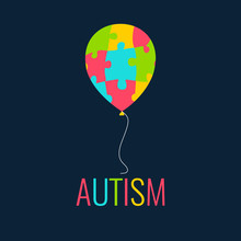 World Autism Day. Autism Awareness Poster With A Colorful Balloon Made Of Puzzle Pieces. Autism Solidarity Day. Symbol Of Autism. Puzzle Symbol. Autism Sign. Vector Illustration.
