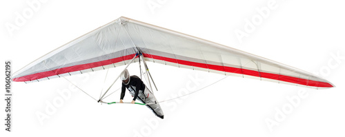 Hang glider soaring the thermal updrafts