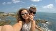 Young Сouple Taking Selfie by Sea on Honeymoon. 4K.