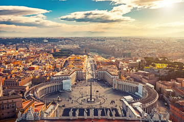 Fototapeta Panorama Miasta Saint Peter's Square in Vatican and aerial view of Rome