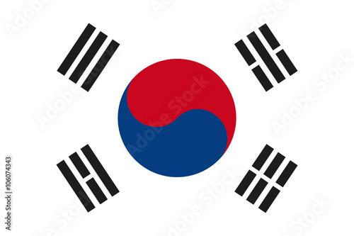 Fotografía  South Korea flag Vector
