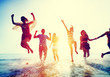 Leinwanddruck Bild - Friendship Freedom Beach Summer Holiday Concept