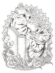 adorable cats coloring page