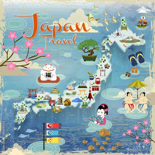 Foto op Canvas Op straat Japan travel map