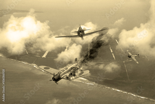 'Vintage Style' image of a World War 2 US fighter plane shooting down Japanese torpedeo bomber over Saipan Wallpaper Mural