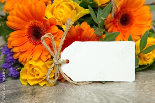 obraz lub plakat Blumen und Karte