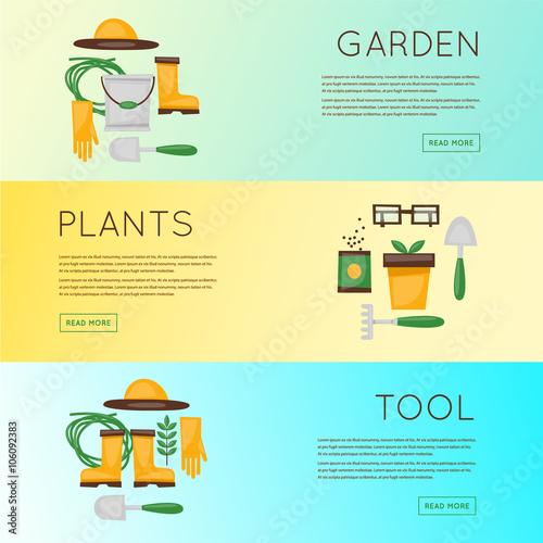 Poster Turquoise Gardener, garden tools, planting, plants, flowers, lawn, park, garden. Banners. Vector illustration flat design.