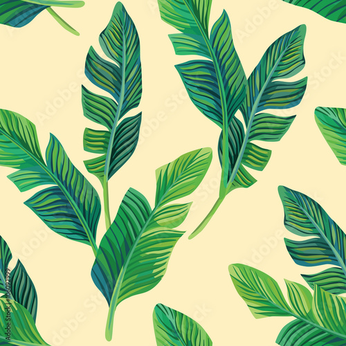 banana leaves seamless background - 106092999