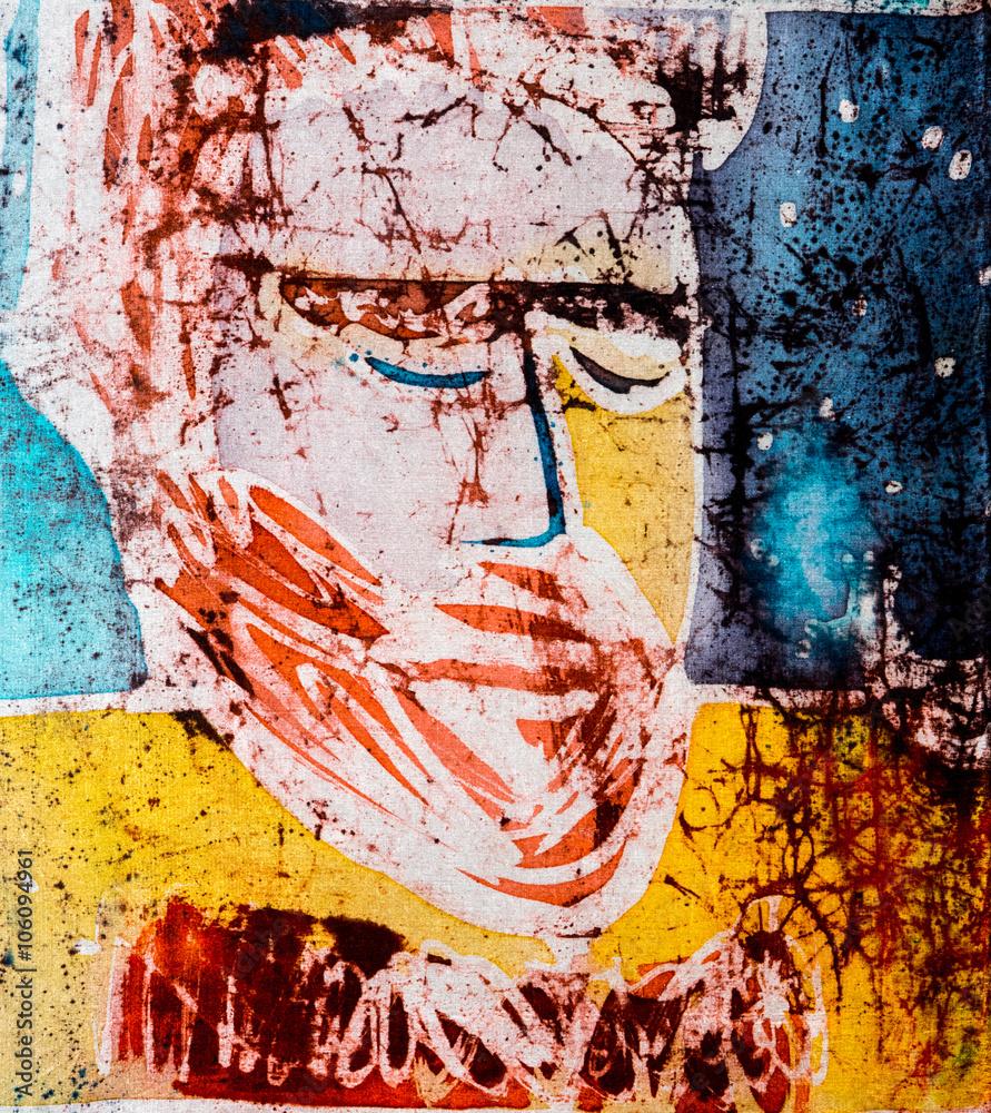 Portrait of man, hot batik, background texture, handmade on silk, abstract surrealism art