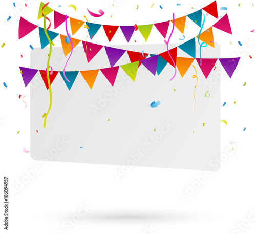 Valokuva Celebration with party flags and confetti