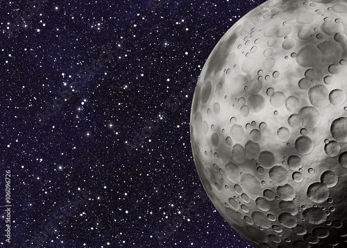 Photo  big moon with craters on a space backgrounds